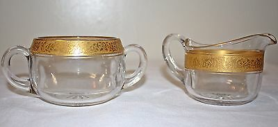Antique Intricately Etched 22k Gold Gilt Rim Glass Cream & Sugar Bowl Servers