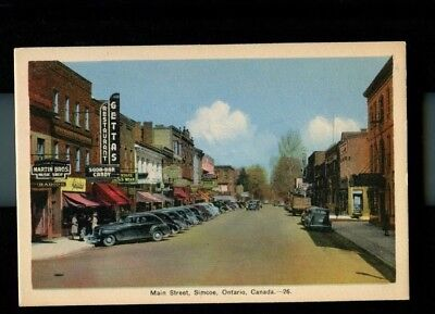 Vintage Postcard - Main Street Simcoe Ontario Canada Old cars stores unposted