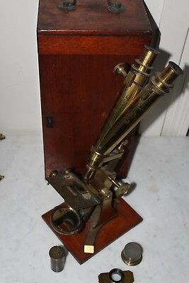 "FINE ANTIQUE BINOCULAR MICROSCOPE ""BAKER 244 HIGH HOLBORN LONDON"" Circa 1850"