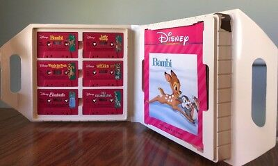 Disney Cassette Tapes & Read Along Books Carrying Case Handle Stories COMPLETE