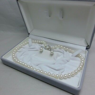 Japanese Akoya Cultured Pearl Strand Necklace 7.5 MM Stud 8.0MM Earrings Set
