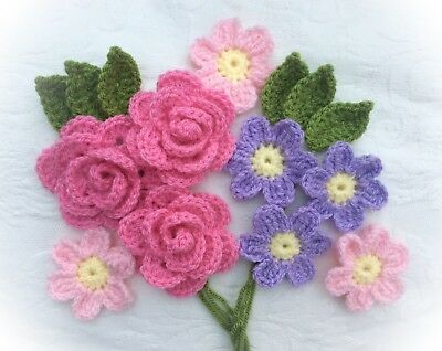 *9 Crochet Flowers And 6 Leaves *pink Roses, Lilac And Pink Flowers