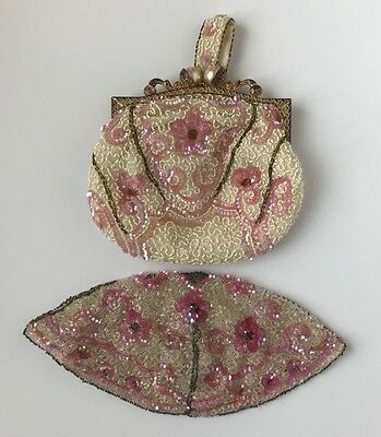 1920's Art Deco Beaded Bag and Hat, Pink, Ivory, Made in France, Cloche, Clutch