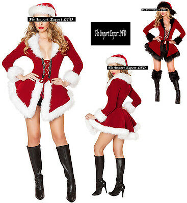 Giacca Cappello Donna Costume Babbo Natale Cosplay Hostess Christmas Jacket 034