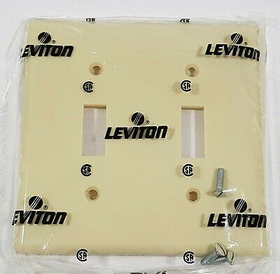 Leviton 2 Gang Toggle Switch Plate Cover Ivory 86009 Plastic Switch Cover NEW