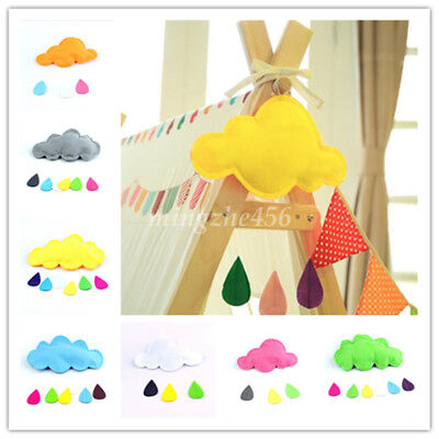 Lovely Cloud Raindrop Design Fabric Faux Silk Wadding Home Kid Wall Decals Decor