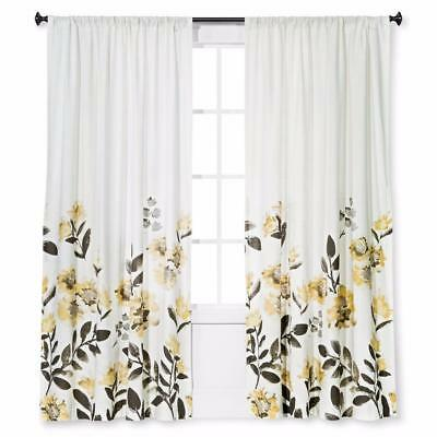 3 Target Threshold Climbing Floral Window Curtain Panels Off White Gray Yellow