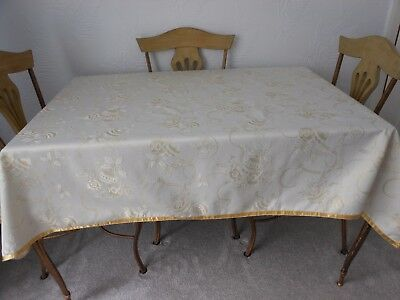 """Christmas Table Cover In Ivory And Gold Colours 69"""" x 52"""""""