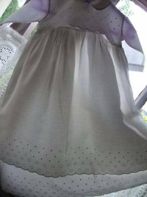 French Vintage Full Length White Cotton Broderie Anglaise Dress