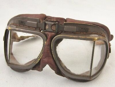 Original WWII RAF Aviator Flying Goggles Leather WW2 Glasses