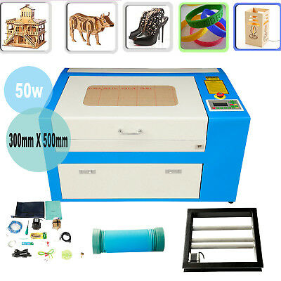 USB 50W CO2 Laser Engraving Cutting Machine Engraver Cutter W/ Auxiliary Rotary