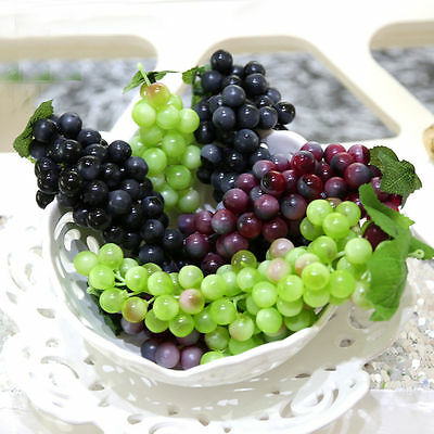 Bunch Lifelike Artificial Grapes Plastic Fake Fruit Home Decoration HK