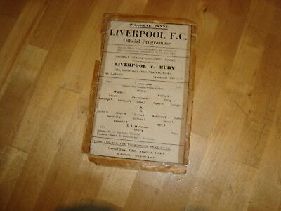 Liverpool v Bury March 1943 League Cup 1st round, Rare