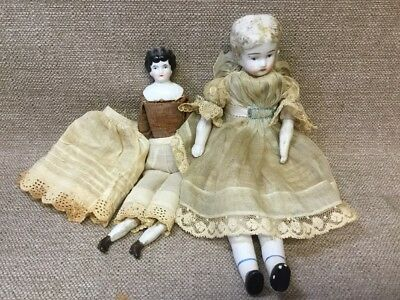 PAIR Antique German Porcelain Straw Cloth Painted Dolls w Handmade Clothes