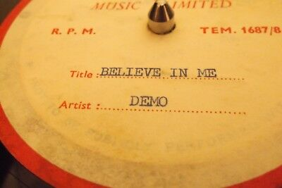"Dick James Acetate One Sided Demo 7"" Vinyl Disc.believe In Me,pop Beat Style ?"