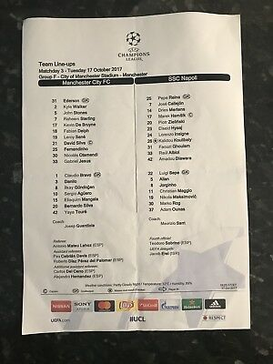 Manchester City V Napoli 17.10.2017 Champions League Official Teamsheet