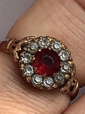 Antique Chester Hallmark 1929 Red And Clear Paste Cluster 9k  Gold Ring -Uk L