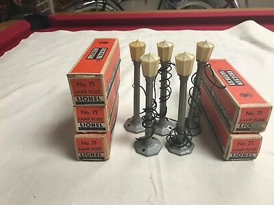 Lot Of (5) Lionel No. 71 Lamp Posts Lights With Original Boxes