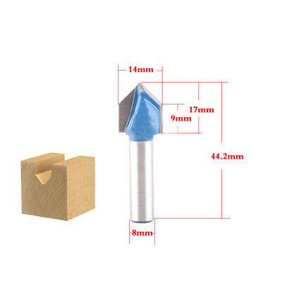 1pcs 14mm 90 Degree V Groove Template Router Bit 8mm Shank woodworking cutter
