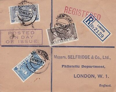 Aden 1937 Coronation Set On Selfridge First Day Cover