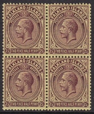 Falkland Is 1921-28 2½D Purple & Yellow Block Of 4 Mint, Two Unmounted