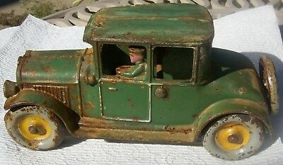 """Antique Arcade? Cast iron Green Roadster w/Driver & Spare Tire-Marked """"1499"""""""