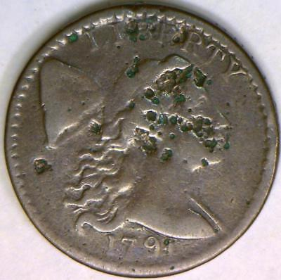 "1794 Flowing Hair Large Cent; S-63 ""Fallen 4"" Variety; F Details"