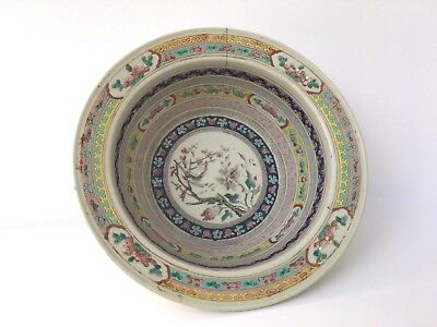 FINE CHINESE FAMILLE ROSE ANTIQUE PORCELAIN BASIN with old metal repair