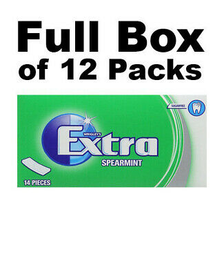 Full Box of 12 Packs Orbit Wrigleys Extra Sugar Free Spearmint Soft Chewing Gum