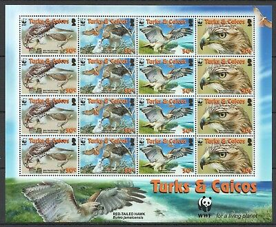 D141 2007 Turks & Caicos Wwf Fauna Birds Red-Tailed Hawk 1Sh Mnh