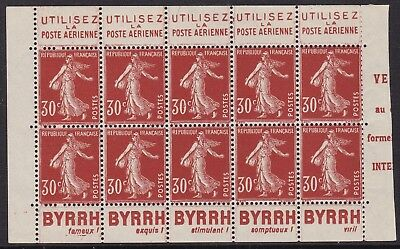 France Sower 30C Red Booklet Pane Of Ten With Adverts