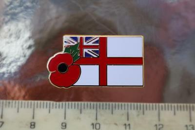 Military Royal Navy Ensign Jack Flag Enamelled Metal Lapel Badge And Poppy