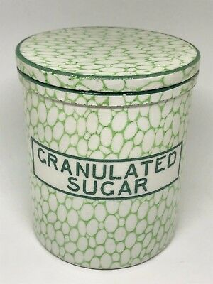 Rare Antique Maling Green Cobblestone Lidded Jar Granulated Sugar - Kitchenalia