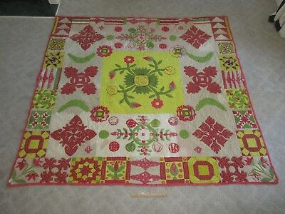 Antique 19th C Hand Made Sewn Applique Pieced Floral Flower Colorful Quilt