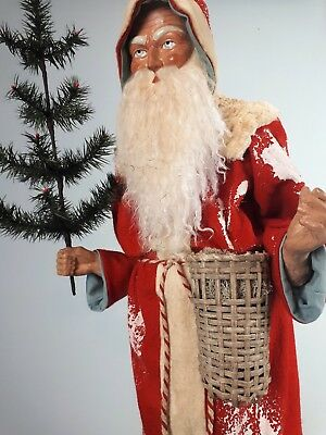 """31,5""""Paper mache*German Santa* candy container *(red)by Paul Turner CS17-033"""