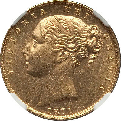 Great Britain 1871 Victoria Gold Sovereign Shield Reverse Die 28 NGC MS-64