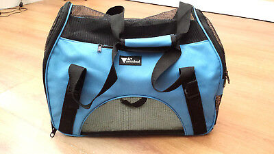 Small Dog Cat Pet Carrier Totes Bag By Vamzdeal Blue Black Fur Lined Lightweight