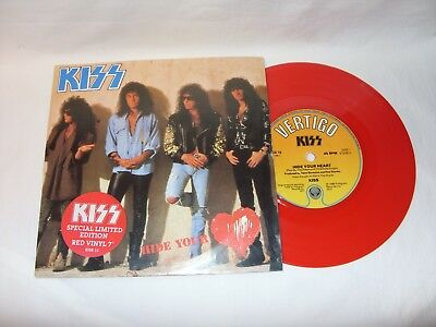 Kiss Hide Your Heart Red Vinyl 7 Inch Single