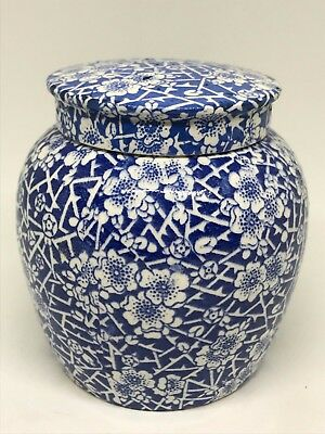 Rare Antique Maling Cetem Ware Blue & White Lidded Ginger Jar - Kitchenalia