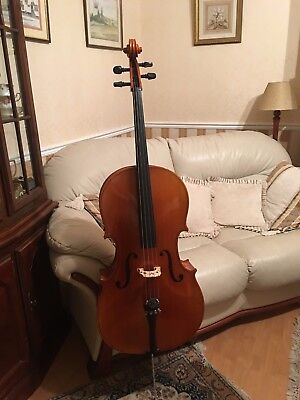 Full size cello, case and bow