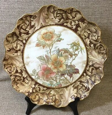 Antique Doulton Burslem Hand Painted Gold Encrusted Floral Scalloped Edge Plate