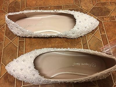Bride wedding white lace pearl shoes size 5 brand new