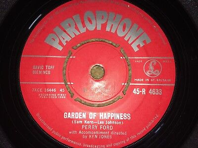 """PERRY FORD GARDEN OF HAPPINESS 1960 PARLOPHONE VINYL 7"""" SINGLE 60's POP"""