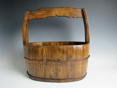 """A Chinese Antique Oval Wood Bucket Magazine Box with Handle / 17 """" High old wood"""