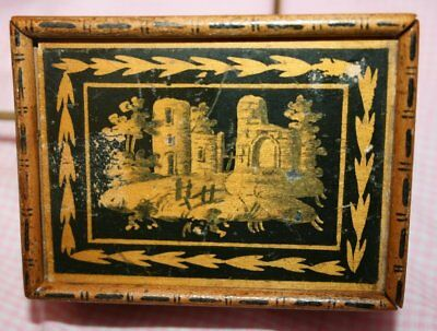 Antique Wood Decoupaged Cigarette Folk Art Box w/ Sliding Lid