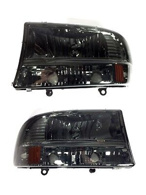 97 04 Dodge Dakota Durango Smoke Smoked Headlights Lamps Pair 98 99 00 01 02 03