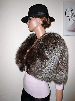 Genuine Vintage Natural Silver Fox Real Fur Cape Shrug Jacket  6 - 8 - 10
