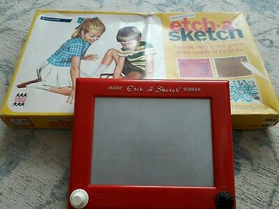 Vintage Etch-a-sketch. 1970. Original Box And All Inserts Retro Drawing