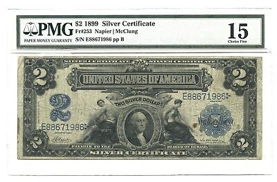 1899 $2 Large Silver Certificate, Fr#253, PMG Choice Fine 15, Napier/McClung