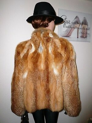 Genuine Vintage Natural Red Fox Real Fur Jacket Coat Лиса Fuchs Volpe 12- 14- 16